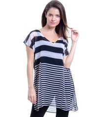 blusa 101 resort wear tunica decote v crepe fendas estampa listrado preto e branco