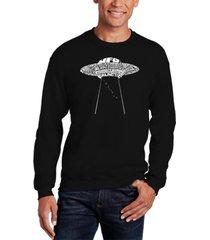 men's flying saucer ufo word art crewneck sweatshirt