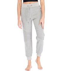 electric yoga women's moto quilted jogger pants - grey - size m