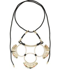 10k goldplated, mother-of-pearl, hematite & faux pearl statement necklace