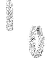14k white gold & 3.50 tcw lab-grown diamond hoop earrings