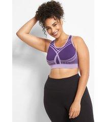 lane bryant women's livi medium-impact seamless wicking no-wire sport bra 22/24 acai purple
