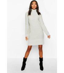 tall roll neck sweater dress, silver