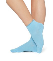 calzedonia extra short flat-knit bandless cotton socks woman light blue size tu