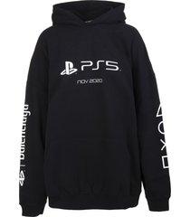 balenciaga man black medium fit playstation hoodie