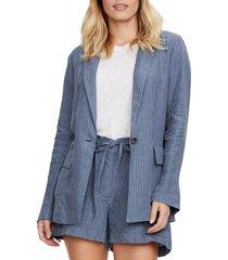 women's michael stars lottie pinstripe linen blazer, size medium - blue