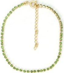 tornozeleira com pedras verde tudo jóias folheada dourada