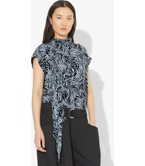 proenza schouler zebra print short sleeve scarf top black/pale blue animal 0