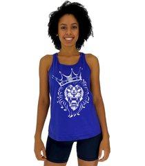 regata feminina alto conceito king lion azul royal