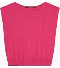 tommy hilfiger women's adaptive solid sweater t-shirt beetroot purple - l