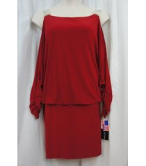 betsy & adam dress sz 18w red blouson cold shoulder evening cocktail party dress