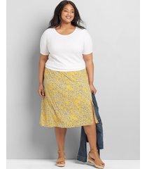 lane bryant women's a-line slip skirt 24 yellow floral