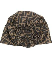 fendi ff motif turban - brown