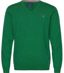 cotton wool v-neck stickad tröja v-krage grön gant