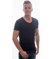 garage t-shirt deep round neck bodyfit black ( art 0205)