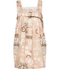 printed denim kort klänning rosa ganni