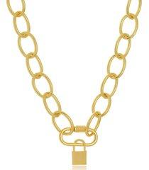 colar maxi elos mosquetã£o com cadeado folheado a ouro 18k - dourado - feminino - dafiti