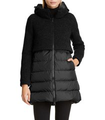 women's herno high/low knit & quilted down puffer jacket, size 4 us - black