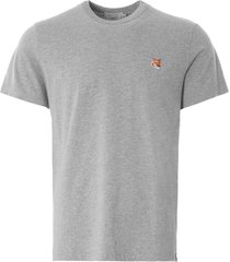 maison kitsune fox head patch t-shirt | grey melange | 103kj008-gry