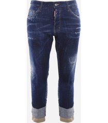 dsquared2 stretch cotton cropped jeans with vintage effect details