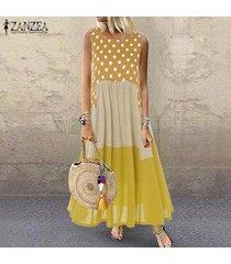 zanzea para mujer sin mangas de long beach sundrss floja ocasional holgado vestido maxi kaftan -amarillo