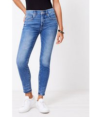 loft petite frayed high rise skinny ankle jeans in pure mid indigo wash