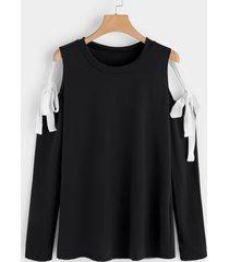 black lace-up design cold shoulder long sleeves t-shirts