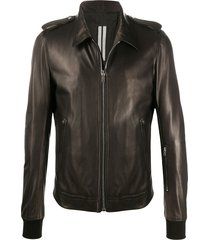 rick owens ribbed-cuff leather jacket - brown