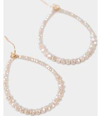 kristin outline beaded teardrop earrings - mauve