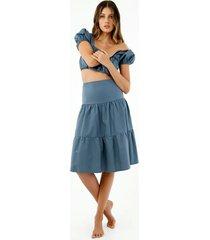 falda de mujer, diseño midi de tiro alto con cortes, color azul