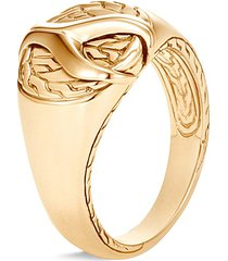 'asli classic chain' 18k yellow gold silver signet ring