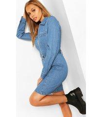zip front belted denim dress, mid blue