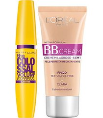 kit máscara de cílios maybelline colossal lavável + bb cream l'oreál paris clara