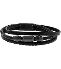 macy's men's black faux leather stacked bracelet with stainless steel accents