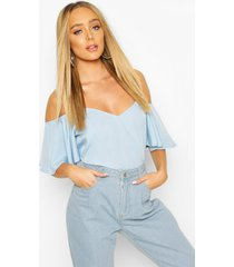 pastel cold shoulder cami top, powder blue
