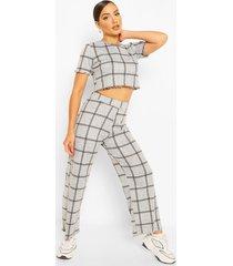 flannel print pants, grey