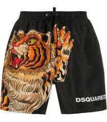 dsquared2 short de natação com estampa tiger - preto