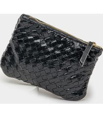cassie woven leather coin pouch - black