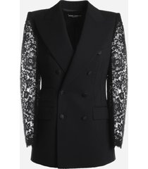 dolce & gabbana double-breasted woolen blazer with lace sleeves