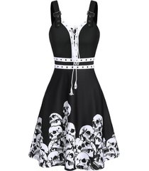 halloween skull print lace-up buckle strap dress
