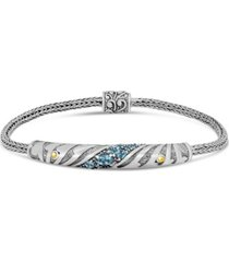 blue topaz bali heritage devata signature bracelet with woven dragon bone oval chain in sterling silver and 18k gold