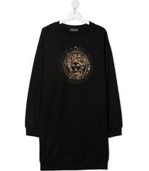 versace kids medusa crystal-embellished sweatshirt dress - black