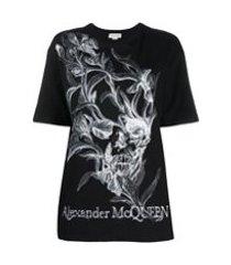 alexander mcqueen camiseta iris skull decote careca - preto