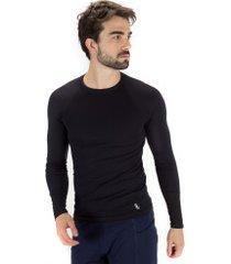camisa térmica manga longa lupo run - masculina - preto