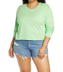 plus size women's bp. crop long sleeve graphic tee, size 2x - green