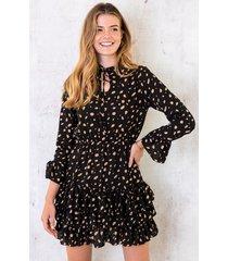 cheetah ruches jurk zwart camel