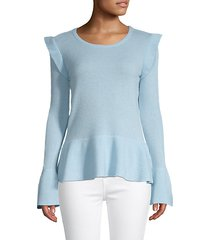 ruffle-trim cashmere peplum sweater