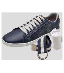 sapatênis kit cinto e meia dexshoes casual azul