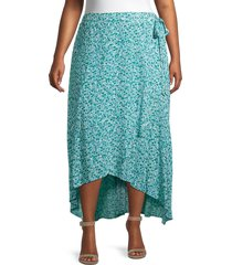 bobeau women's plus buttercup floral wrap skirt - green dots - size 5x (30-32)