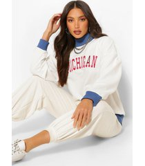 tall 'michigan' varsity sweater, crème